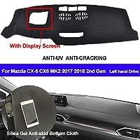 OZLXKNC マツダCX-5CX5 MK2 2017 20182nd用カーダッシュボードカバーシリコンノンスリップジェネレーションディスプレイスクリーンダッシュマットダッシュパッド付き