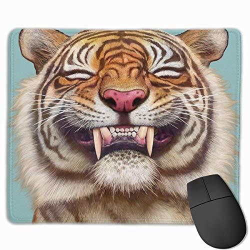 Gaming Mouse Pad Lächelnder Tiger Lustige Lächeln Zähne Rechteck Rutschfeste Gummi Mauspads Mousepad Matte für Computer Laptop Home Office Game Desk