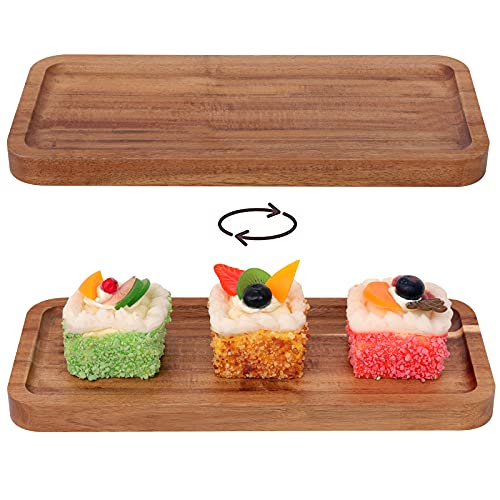LONGNENG Set of 2 Serving Trays Rectangular Wood Tray Acacia Serving Platter Raised Tray,Decorative Wooden Trays for Display Fruit Snacks Dessert Appetizer Sushi Food