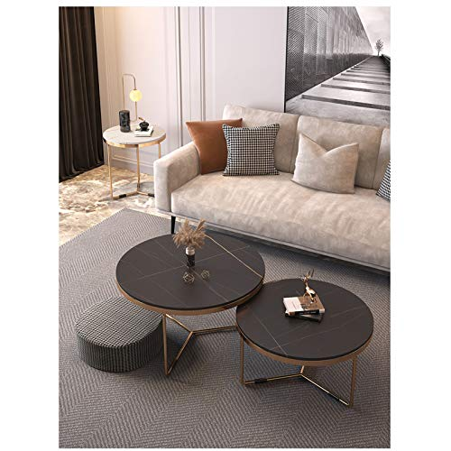 Amrai Black Modern Coffee Table Round Nesting Sofa Table for Living Room/Office Decoration, Metal, Gold Frame/Sintered Stone Tabletop [Set of 2]