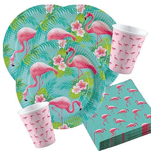 Unbekannt 36-Teiliges Flamingo Party Set Nr. 2 für 8 Personen Geburtstags Deko Tischdeko