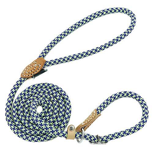 Grand Line Laisse Dressage Chien Lasso Laisse pour Chiens Petits, Moyens, Grands et Très Lourds - 1,0cm de Diamètre x 150cm de Longue(Bleu)
