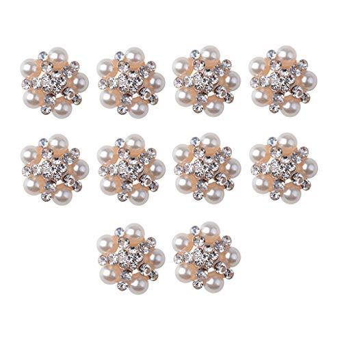 harayaa 10pcs Botón de Cristal de Diamantes de Imitación Perla Broche Adorno Beige
