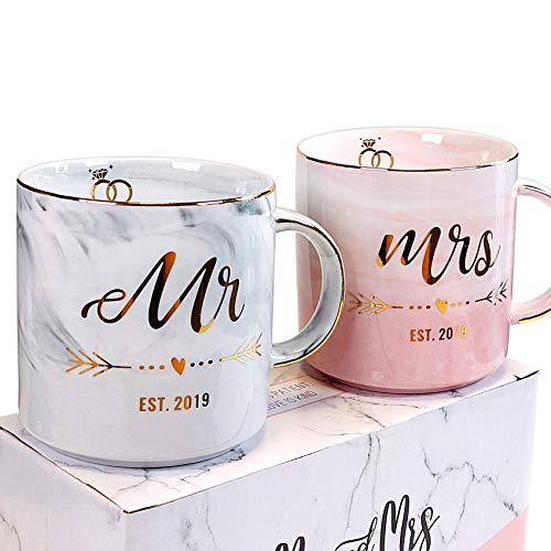 Vilight Mr and Mrs est 2019 Mugs - 1st Wedding Anniversary Gifts for Husband and Wife - Marble Coffee Cups Set of 2