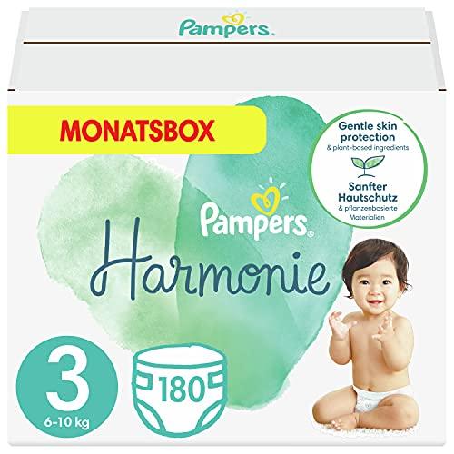 Pampers Größe 3 Harmonie Baby Windeln, 180 Stück, MONATSBOX, Mit Premium-Baumwolle Und Pflanzenbasierten Materialien (6-10 kg)