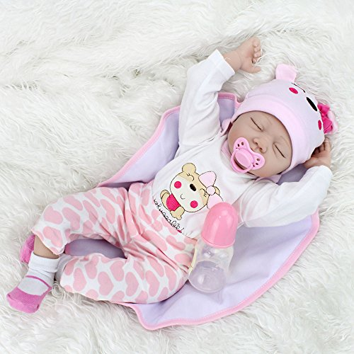 Kaydora Reborn Baby Doll Girl, 22 inch Soft Weighted Body, Cute Lifelike Handmade Silicone Sleeping Doll