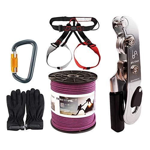 GJF 11mm Seil Downhill Set absteigend Rettungsset, Feuer-Not-Rettungshandsteuerungs-Drop-Set, Outdoor-Rock-Klettern überqueren die Höhle, um statische Seilset zu überleb purple-80m