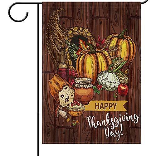Zome Lag Tuin Vlaggen Thuis Decoratieve Huis Yard Vlag Herfst Thanksgiving Dubbele Zijde Huis Yard Flag,Turkije Taart Brood Pompoen Seizoensgebonden Outdoor Vlaggen Bannner 32X45.7CM