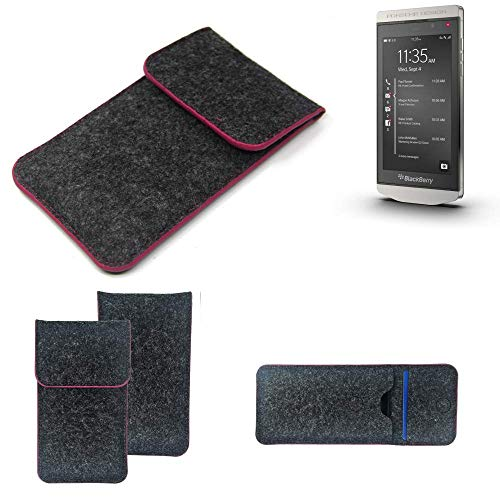 K-S-Trade® Filz Schutz Hülle Für BlackBerry Porsche Design P9982 Schutzhülle Filztasche Pouch Tasche Case Sleeve Handyhülle Filzhülle Dunkelgrau Rosa Rand
