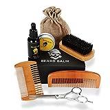 Aceites cuidado de barba kit, peine, manteca de bálsamo, tijeras de peluquero, brocha de bigote, modelado y arreglo de afeitado, juegos de herramientas de afeitado para hombre