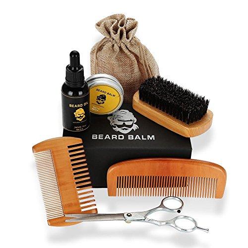 Kit barba condizionatore e trimmer con olio per barba, pettine, burro balsamo, forbici per barbiere, spazzola per modellare i baffi e rasatura Kit di strumenti per rasatura per uomo