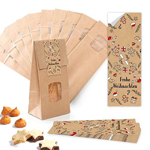 25 kleine braune Weihnachten Papiertüten Kraftpapier mit Boden Fenster und Pergamin 10 x 6,5 x 27,5 cm + 25 weihnachtliche Aufkleber LEBKUCHEN-MANN schwarz rot beige Verpackung Geschenk