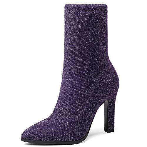 Frauen Schuhe Mittlere Waden Stiefel Mode Stretch Stoff Dünne High Heel Spitz Slip On Socken Stiefel Winter Plüsch Warme Frauen Stiefel