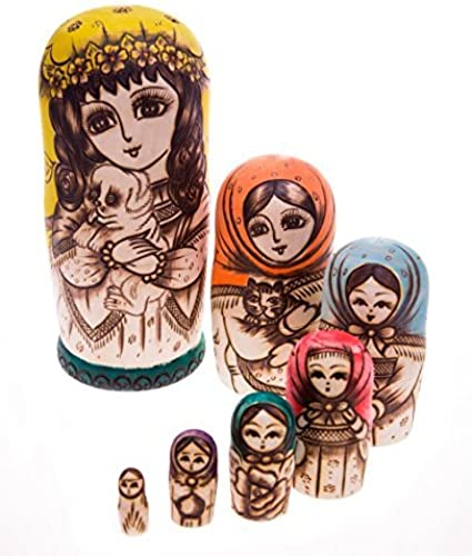 todos los bienes son especiales Moonmo 7pcs Beautiful Handmade Wooden Russia Nesting Dolls Dolls Dolls Gift Russian Nesting Wishing Dolls Cute Dog Matryoshka Traditional. by Moonmo  Más asequible