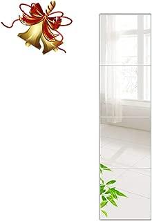 Beauty4U Full Length Tall Mirror Tiles - 14 Inch x 4Pcs Frameless Wall Mirror Set HD Vanity Make Up Mirror for Wall Décor