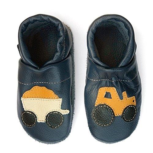 Pantau Leder Krabbelschuhe Lederpuschen Babyschuhe Lauflernschuhe mit Traktor, 100% Leder, 24 EU