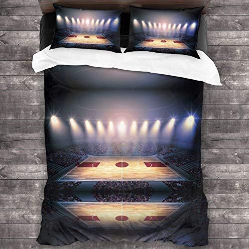 FETEAM 86'x70' Juego de Cama Microfibra 100% Suave Arena de Baloncesto Bedding Sábanas Pareja DE Almohadas
