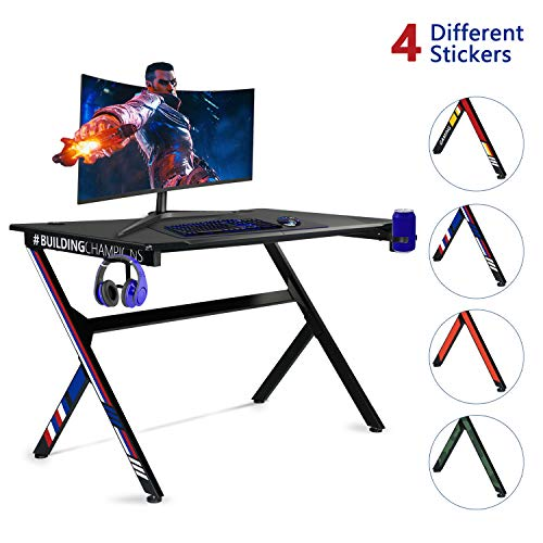 Aoxun Gaming Desk, 43.5'' Gaming Table Home Computer Desk with Cup Holder and Headphone Hook Gamer Workstation Game Table, Writing Desk for Home Or Office (43.5' W x 27.6' D)