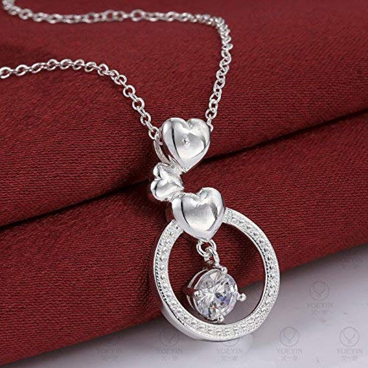 Rhinestone Necklace Creative OL Heart Shaped Diamond Necklace Fashion Silver Plated Jewelry by Enking