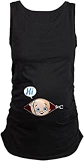 KIKIGOAL Maternity Basic Tank Top Mama Clothes Pregnancy Neck Sleeveless Tops Women's Solid Side Ruching Vest