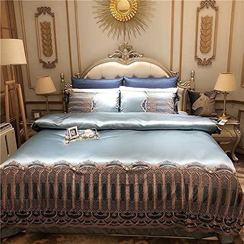N/Z Wohnausrüstung 4 Stück Satin Jacquard Luxuriöses Bettwäscheset Spitzendruck Hotelqualität Beinhaltet X1 Bettbezug X2 Kissenbezüge und X1 Spannbetttuch Weiches 100% Baumwollsilber 200 * 230 cm