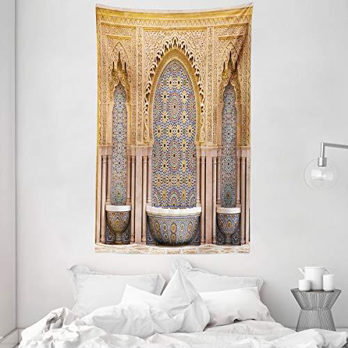 ABAKUHAUS Marokkanisch Wandteppich & Tagesdecke, Rabat Hassan Tower, aus Weiches Mikrofaser Stoff Wand Dekoration Für Schlafzimmer, 140 x 230 cm, Apricot Blassbraun