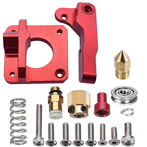 Extrusora de Impresora 3D, Kit de Extrusora MK8, Extrusora de Metal MK8, Aleación de Aluminio Rojo Extrusora Remota de Metal para CR-8, CR-10, CR-10S, Filamento de 1,75 mm (Mano Derecha)