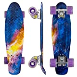 """Eseewigs Skateboard Mini Cruiser Complet de 22""""x6 pour débutants, Adolescents, Filles, garçons avec Roues à LED (Blaze)"""