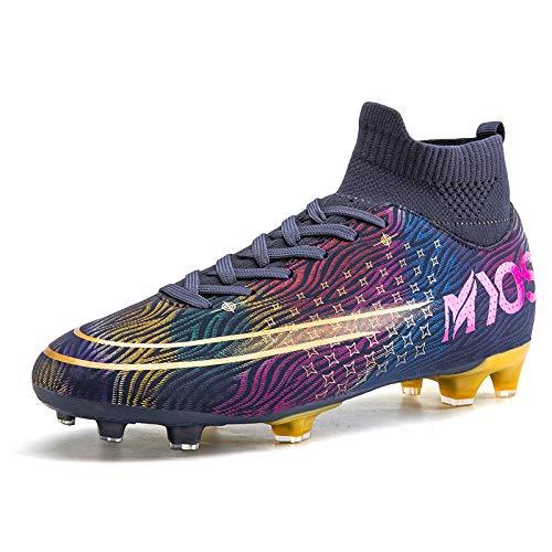 HongHe Tacos de fútbol Zapatos Botas de fútbol Tacos Calcetines Altos Amortiguador de Choque para Exteriores, Tacos de fútbol para niños y jóvenes, Zapatos de fútbol para niños y niñas(37, C)