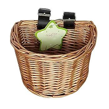 CHUJIAN Rotin Stockage de vélos Panier Pique-Nique Enfants Mignon Osier Paille Panier Backpack Multi-Usage Filles Enfants Summer Beach Sac à bandoulière (Couleur : Bustket with Lid)