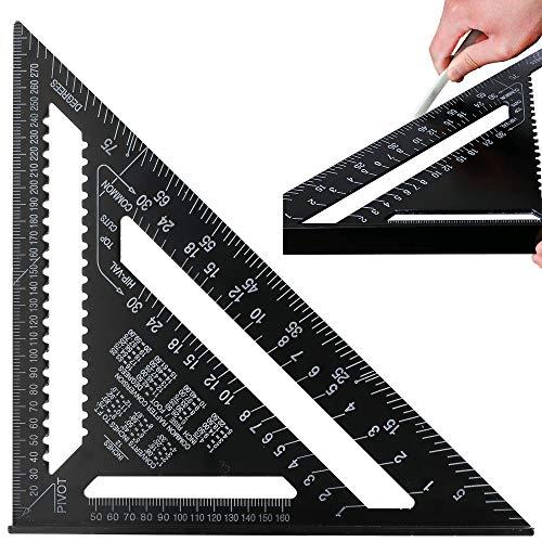 ManLee 12 Pulgadas Regla de Triángulo Escuadra de Tríangulo de Aleación de Aluminio Speed Square Regla Triangular Carpintero 90 Grados 45 Grados Regla Cuadrada Metalica - Negro 300 x 300 x 430 mm