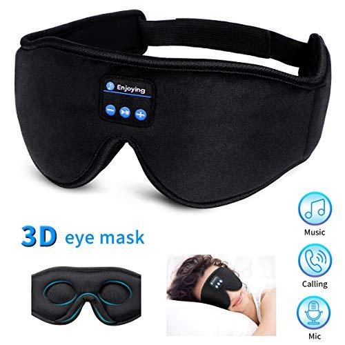 WU-MINGLU Bluetooth-Schlafmaske, kabellos, 3D-Augenmaske, Schlafkopfhörer, Musik, Reise, Freisprecheinrichtung, lange Spielzeit, perfekt für Seitenschläfer, Meditation