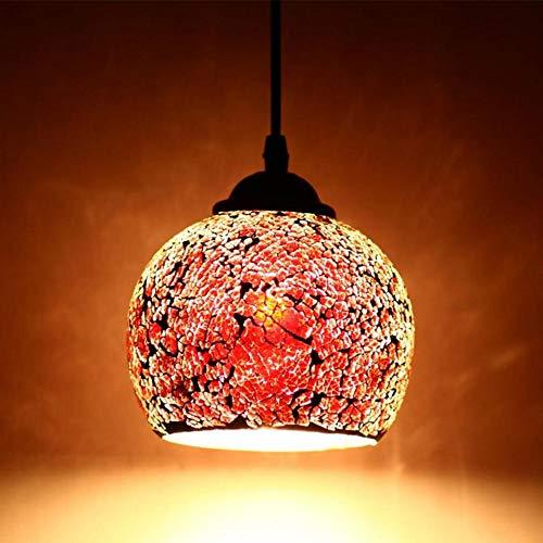 Lampara Vintage del Colgante del Techo E27 led Cristal Iluminacion Interior Multicolor Casquillo Luz del Techo para Caféteria Restaurante Casa Habitacion,Color Rojo