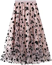 Women Tutu Tulle Skirt Elastic High Waist Layered Skirt Floral Print Mesh A-Line Midi Skirt (Pink, One Size)