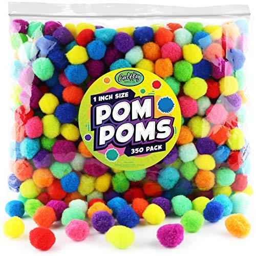 Carl & Kay [350 Pcs] 1 Inch Pom Poms, Bulk Craft Pompoms in Bright & Bold Assorted Colors, Pompoms for Crafts, Assorted Pom Pom Balls