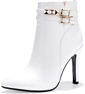 Women's Vivian-R Pointed Toe high Stiletto Heels Studded Ankle Booties Side Zipper Short Boots