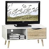 IDIMEX TV Kommode TV Rack Lowboard HiFi Möbel Fernsehtisch Beistelltisch Wohnzimmertisch Imperia, 1 Fach, 1 Schublade weiß/Sonoma foliert