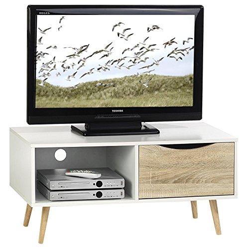 IDIMEX Meuble Banc TV Imperia avec 1 Compartiment Ouvert et 1 tiroir Style scandinave, décor Blanc Mat et chêne Sonoma
