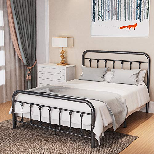 Noillats Metal Bed Frame Full Size with Vintage Headboard and Footboard, Premium Stable Steel Slat...