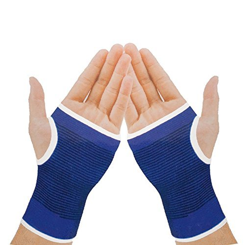 Mcolics Elastic Wrist Hand Brace Gym Sports Support Wrist Gloves Hand Palm Gear Protector Carpal Tunnel Tendonitis Pain Relief, 1 Pair (Blue)