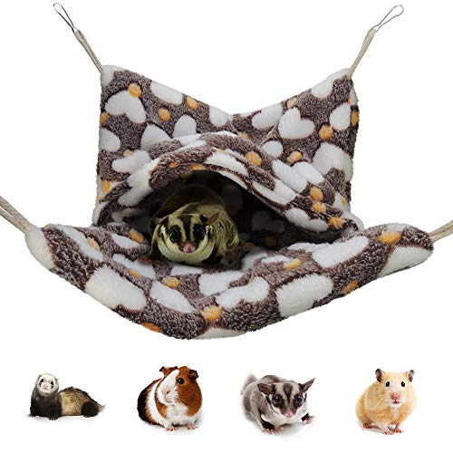 HOMEYA Pet Small Animal Hanging Hammock, Snuggle Hideout Nap Sack Bag for Ferret Guinea-Pig Hamster Rat Mice Chinchilla Flying Squirrel Gerbil Dwarf Sleep Cage Swinging Bed Toy Winter (Brown)