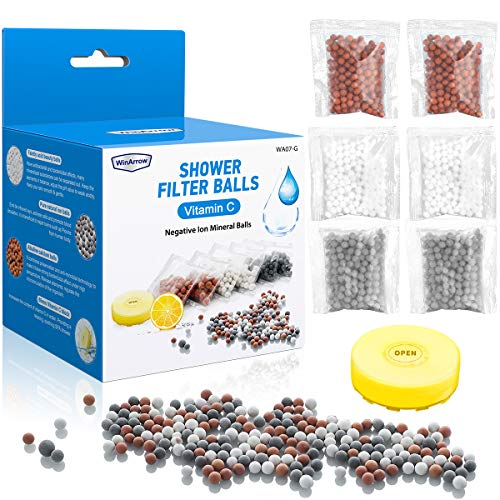 WinArrow Bolas Minerales de Iones Negativos, 6 Paquetes Bolas de Filtro para Cabezal de Ducha con Vitamina C Elimina Cloro y Agua Dura Reemplazo de la Piedra Bioactivo para Alcachofas Móviles