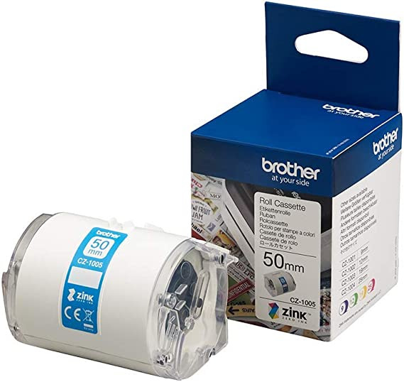 Brother Cz 1005 Farbetikettenrolle 50 Mm Breit 5 M Lang Für Etikettendrucker Vc 500w Bürobedarf Schreibwaren
