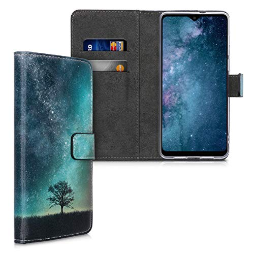 kwmobile Wallet Hülle kompatibel mit Blackview A80 Pro (2020) - Hülle Kunstleder mit Kartenfächern Stand Galaxie Baum Wiese Blau Grau Schwarz
