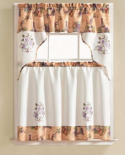 RT Designers Collection Urban Embroidered Grape Tier and Valance Kitchen Curtain Set
