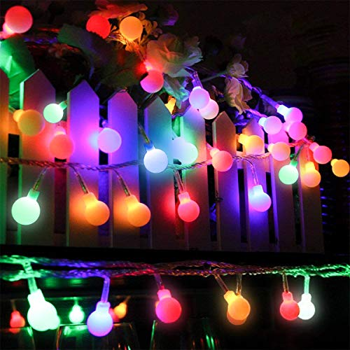 Globe Led String Lights, Mibote 55ft 112 LEDs Colored Fairy Lights Waterproof Plug in String Lights for Outdoor Indoor Bedroom Patio Garden Party Wedding Patio Christmas Xmas Tree Decoration