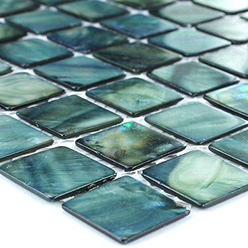 Glas Mosaik Fliesen Perlmutt Effekt Grün 25x25x2mm