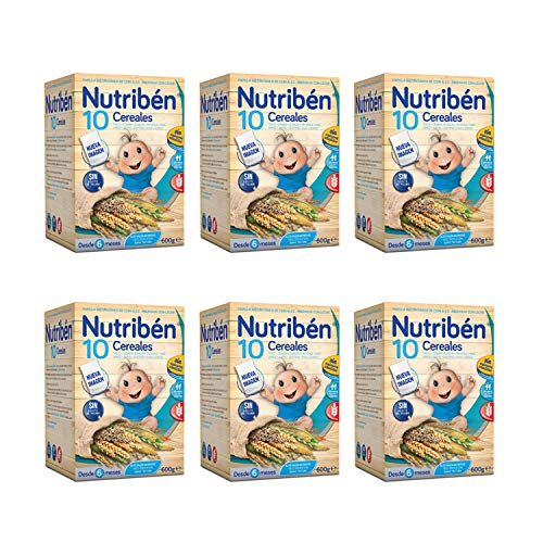 Nutribén Nueva Papilla 10 Cereales, la Única Papilla del Mercado con 10 Cereales, sin Azucares Añadidos. 600Gr X 6. 4110 g