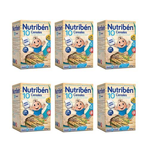 Nutribén Nueva Papilla 10 Cereales, la Única Papilla del Mercado con 10 Cereales,Sin aceite de Palma ni azucares añadidos - Alimento Para bebés- Pack De 6 unidades x 600 g- Pack De 6 unidades x 600 g