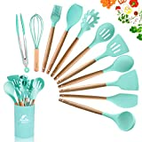 MIBOTE 12 Pcs Silicone Cooking Kitchen Utensils Set with Holder, Wooden Handles Cooking Tool BPA...